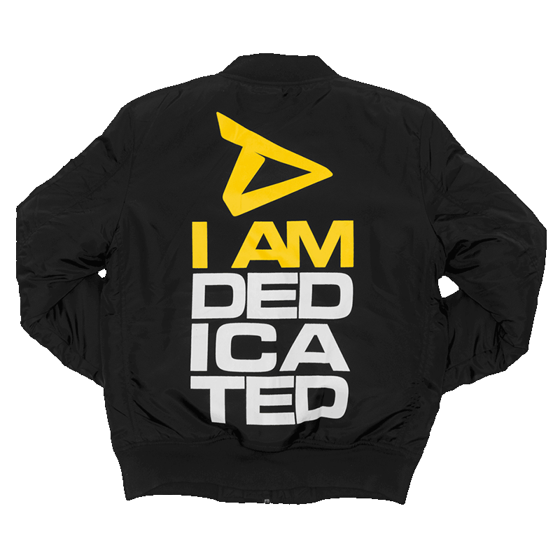 Bomber Jacket with large I Am Dedicated logo