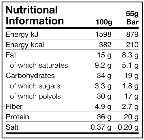 Dedicated Crisp Bar Chocolate Caramel Nutritional Information