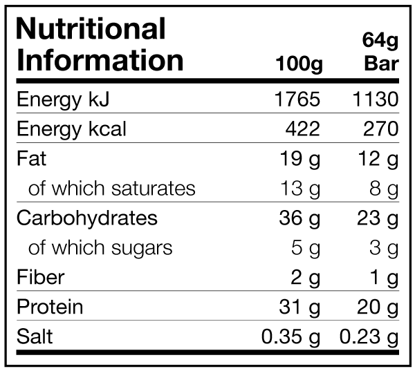 Dedicated Rock Bar Chocolate, Caramel & Crunchy Peanuts Nutritional Information