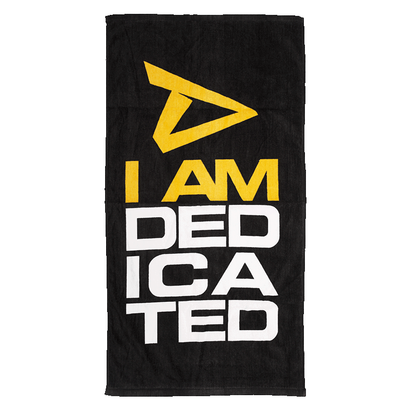 Towel with I Am Dedicated logo