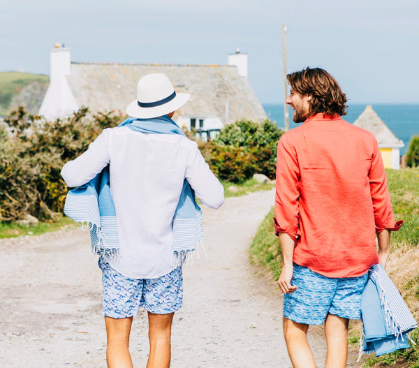DUNDAS London Classic Shirt, Inky Waves and Swimming Fish BUNKS swim shorts