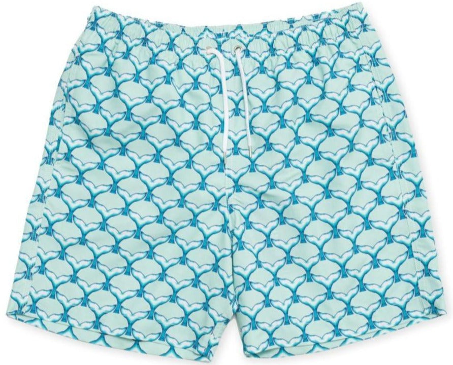 BUNKS Surfing Dolphins Tails Men's Swim Shorts In Blue And Teal