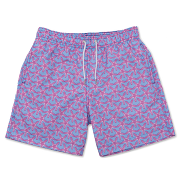 Starfish Swim Shorts - Light Blue/Coral Pink - BUNKS | Swimming Shorts For Boys & Men