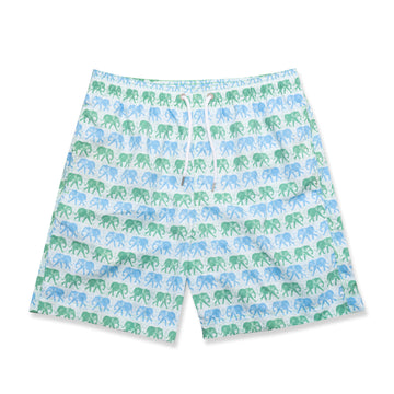 Elephants Swim Shorts - Green/Blue - BUNKS | Swimming Shorts For Boys & Men