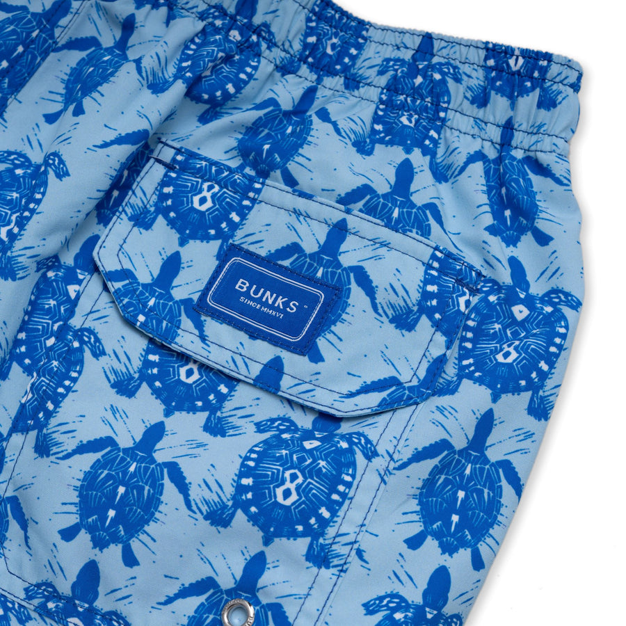 Tortoise & Turtle Swim Shorts - Blue - BUNKS | Swimming Shorts For Boys & Men