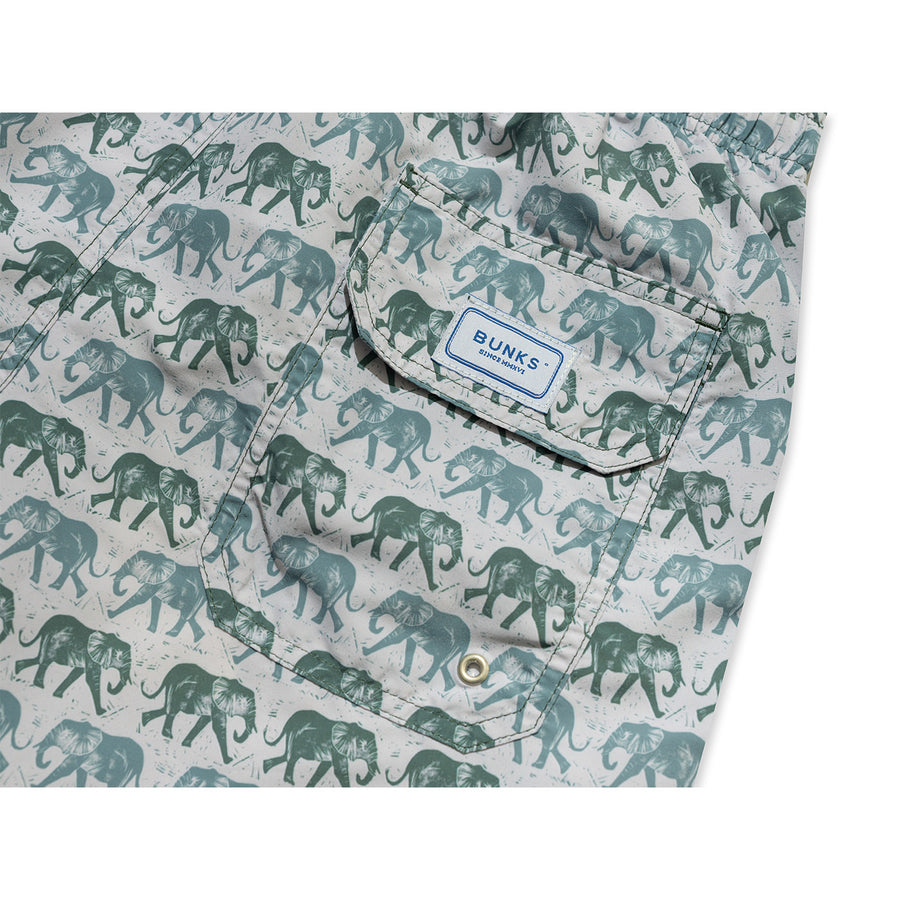 Elephants Swim Shorts - Olive - BUNKS | Swimming Shorts For Boys & Men