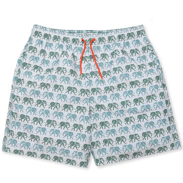 Elephant Swim Shorts - Olive/Red - BUNKS | Swimming Shorts For Boys & Men