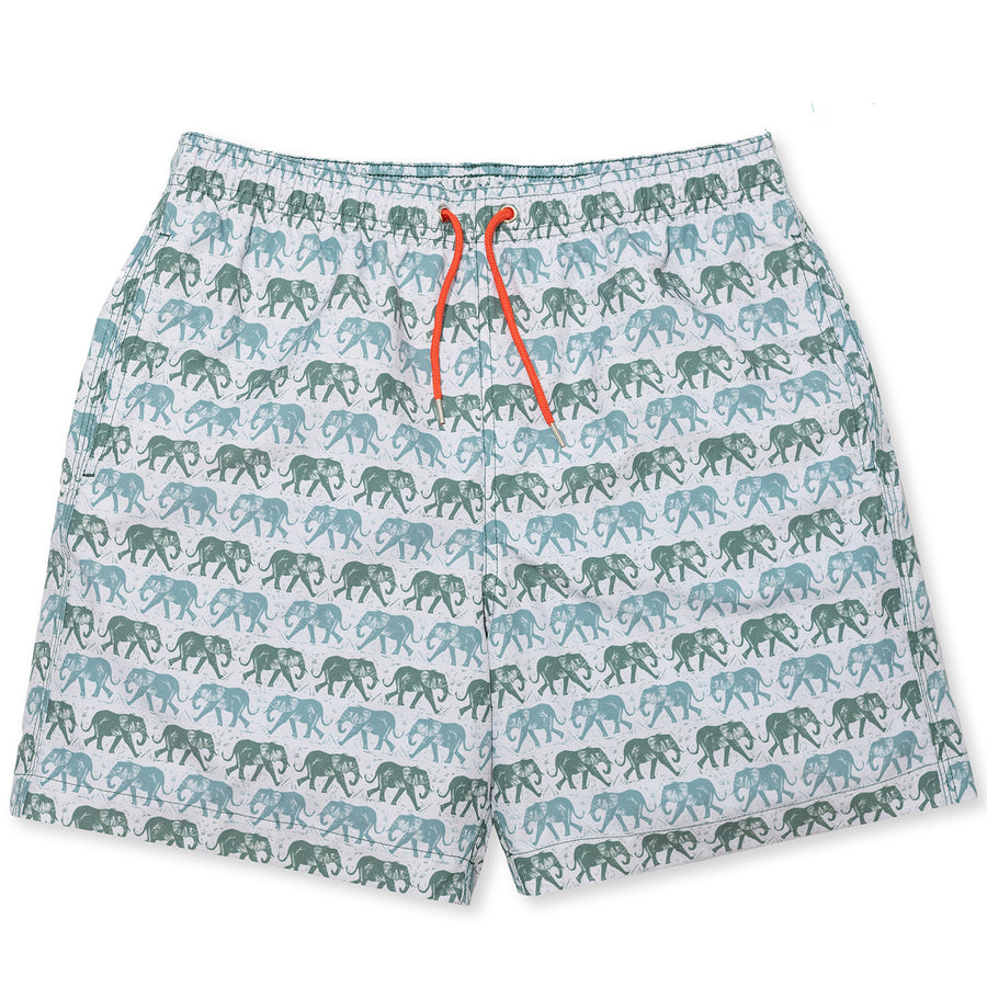Elephants Swim Shorts - Olive/Red freeshipping - BUNKS | Swimming Shorts For Boys & Men