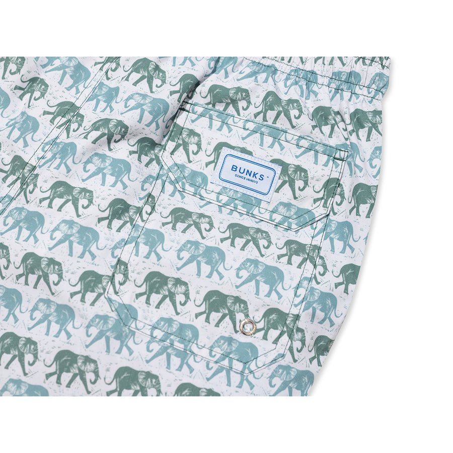 Elephants Swim Shorts - Olive/Red - BUNKS | Swimming Shorts For Boys & Men