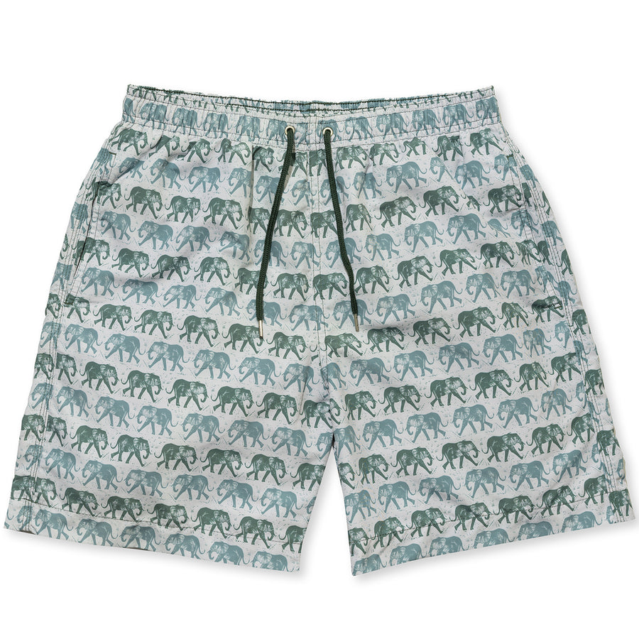Elephant Swim Shorts - Olive - BUNKS | Swimming Shorts For Boys & Men