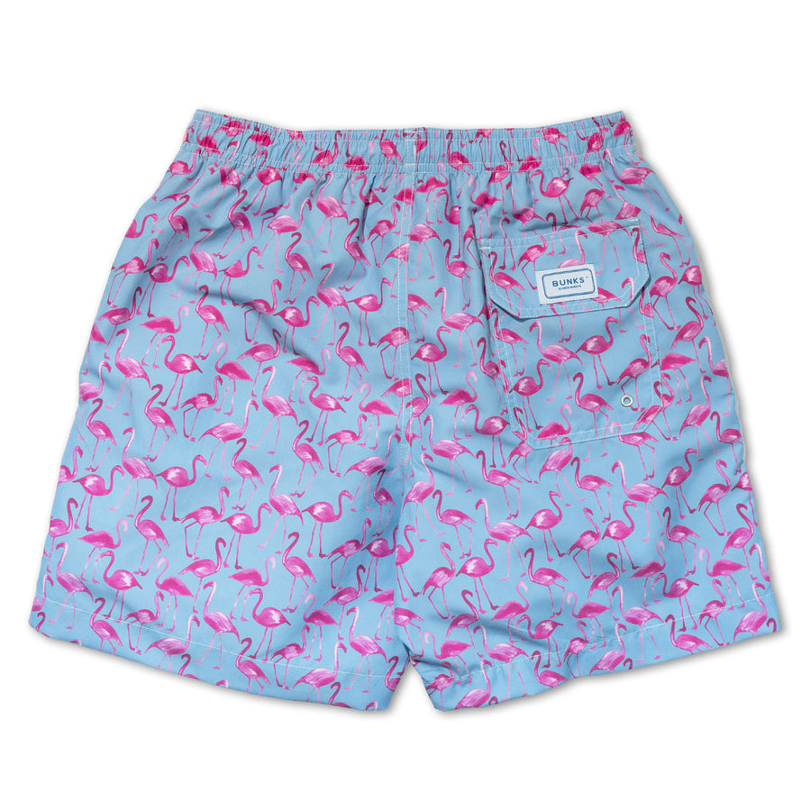 Flamingo Swim Shorts - Pink/Blue - BUNKS | Swimming Shorts For Boys & Men