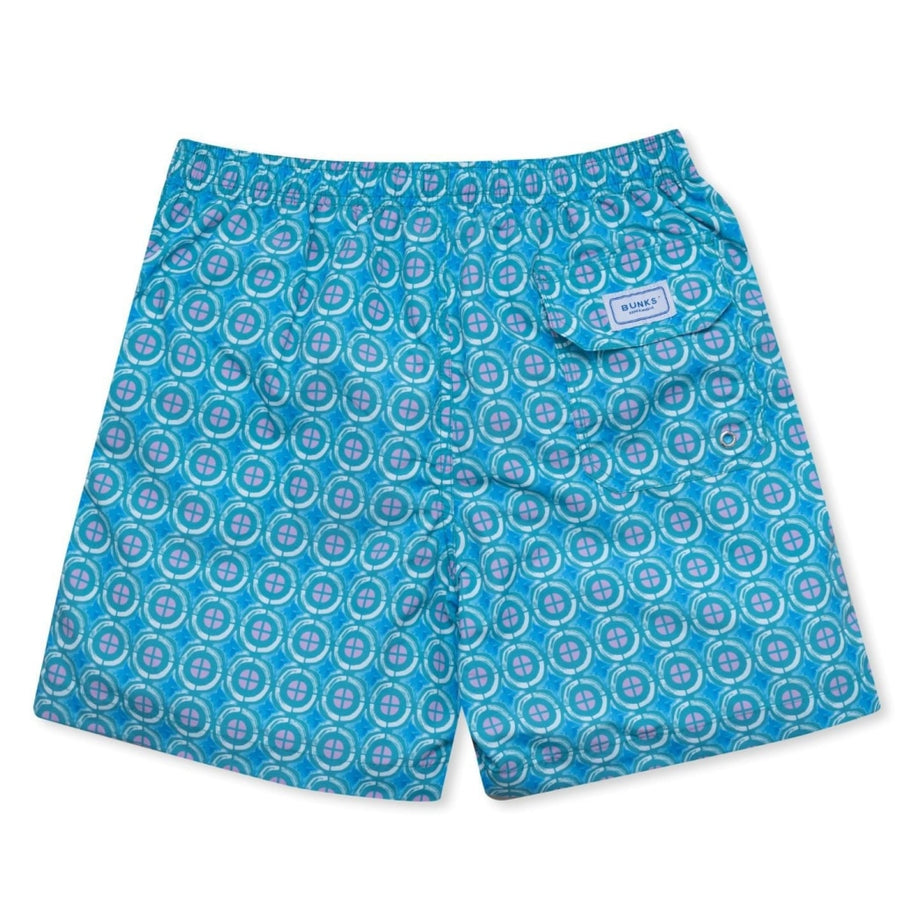 Mediterranean Tile Swim Shorts - Blue/Pink - BUNKS | Swimming Shorts For Boys & Men