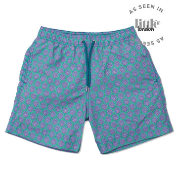 Sea Urchin Swim Shorts - Green/Teal freeshipping - BUNKS | Swimming Shorts For Boys & Men
