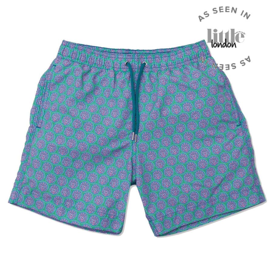 Sea Urchin Swim Shorts - Green/Teal - BUNKS | Swimming Shorts For Boys & Men
