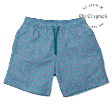 Sea Urchin Swim Shorts - Green/teal Mens