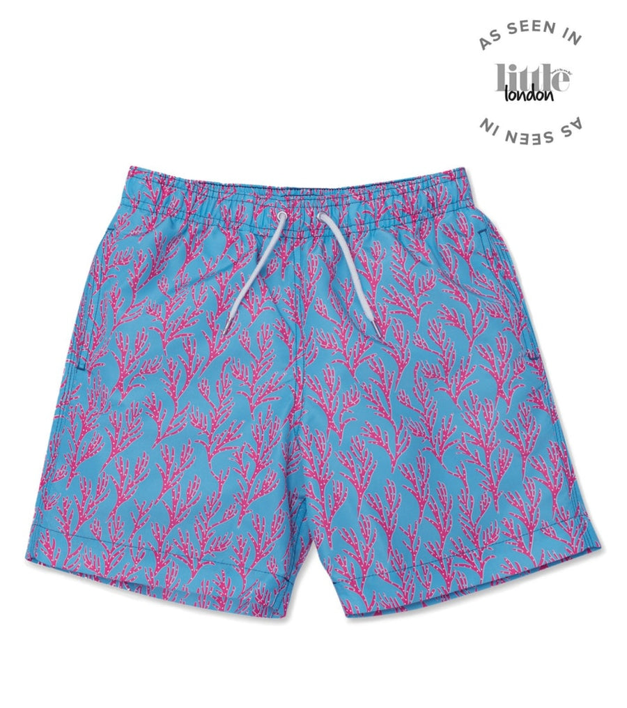 Seaweed Swim Shorts - Bright Blue/Coral Pink - BUNKS | Swimming Shorts For Boys & Men