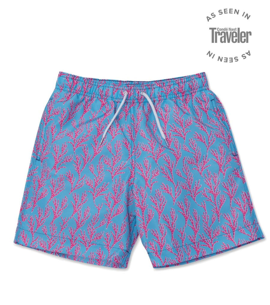 Seaweed Swim Shorts - Bright Blue/Coral Pink freeshipping - BUNKS | Swimming Shorts For Boys & Men
