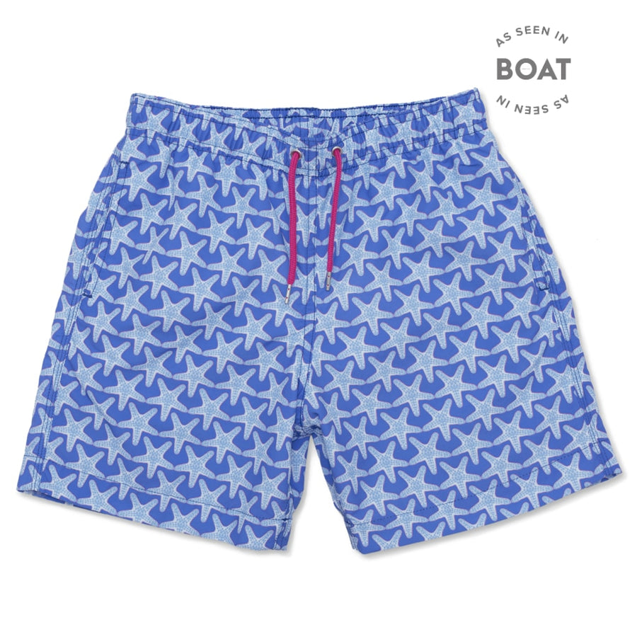 Starfish Swim Shorts - Bright Blue/Pale Blue freeshipping - BUNKS | Swimming Shorts For Boys & Men