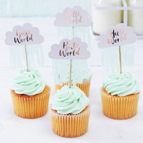 Rose Gold & Cloud Baby Shower Cupcake Toppers (Pack of 10)