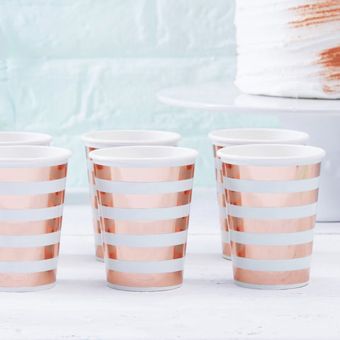 Mint & Rose Gold Paper Cups (Pack of 8)