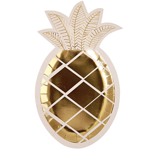 Gold Pineapple Plates (Pack of 8)