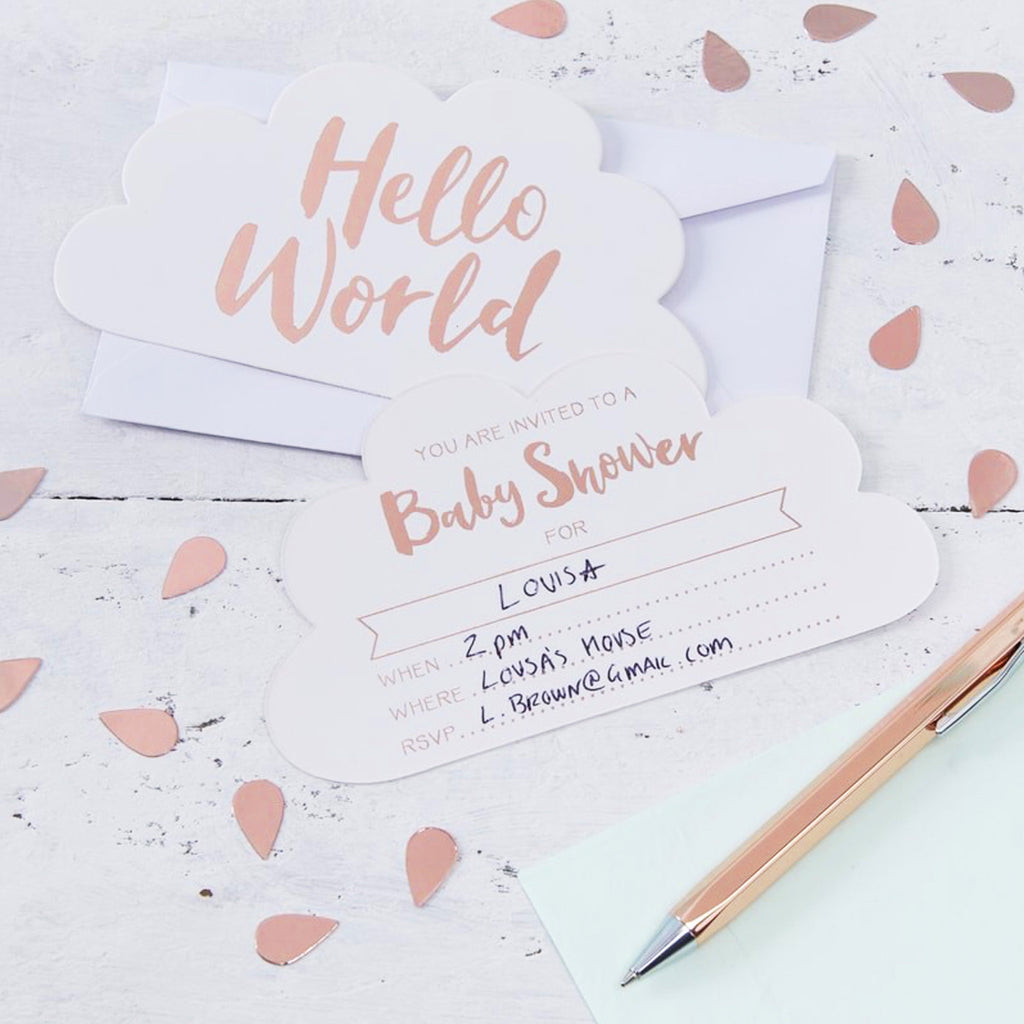 Rose Gold Baby Shower Invitations Hello World Oh La De Dah