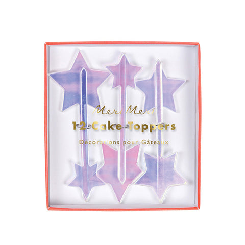 Iridescent Acrylic Star Toppers