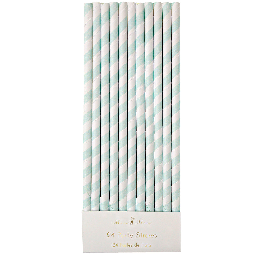 Duck Egg Blue Stripe Straws