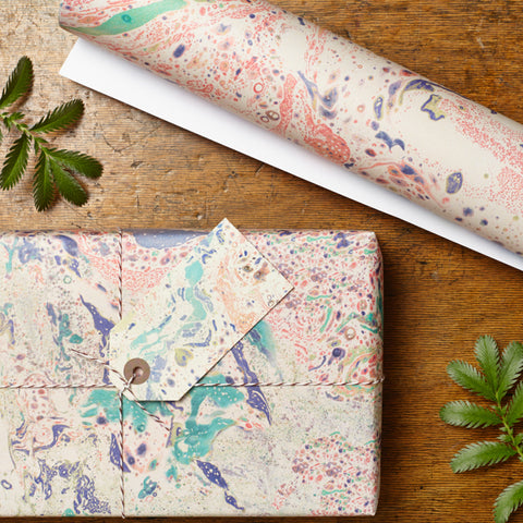 Marbled Peacock Gift Wrap Set