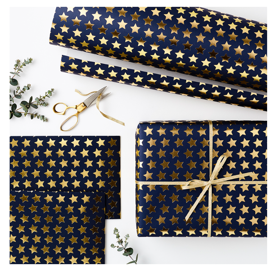 Luxury Navy with Gold foil Star Wrapping Paper