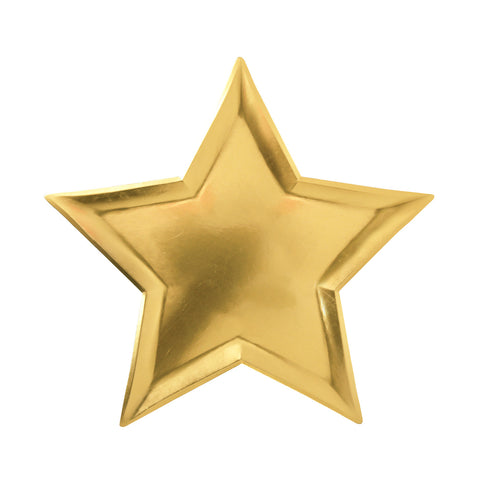 Gold Star Plates (Pack of 8 Plates)