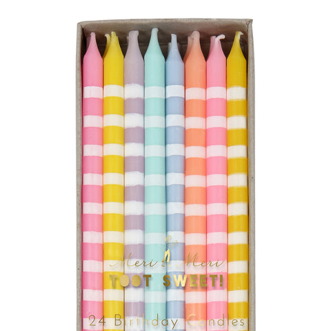 Pastel Striped Candles