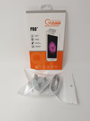 iPhone Accessory Pack (Tempered Glass, Mains Plug, Cable)
