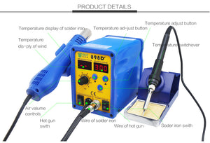898D+ 220V SMD SOLDERING DESOLDERING AIR REWORK IRON STATION