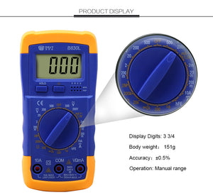DIGITAL MULTIMETER AC DC MEASURING TRANSISTOR Ω VOLTAGE RESISTANCE CURRENT TEST