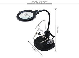 LED Magnifying Glass Welding Soldering Repair Magnifier Holder Station With Alligator Clips