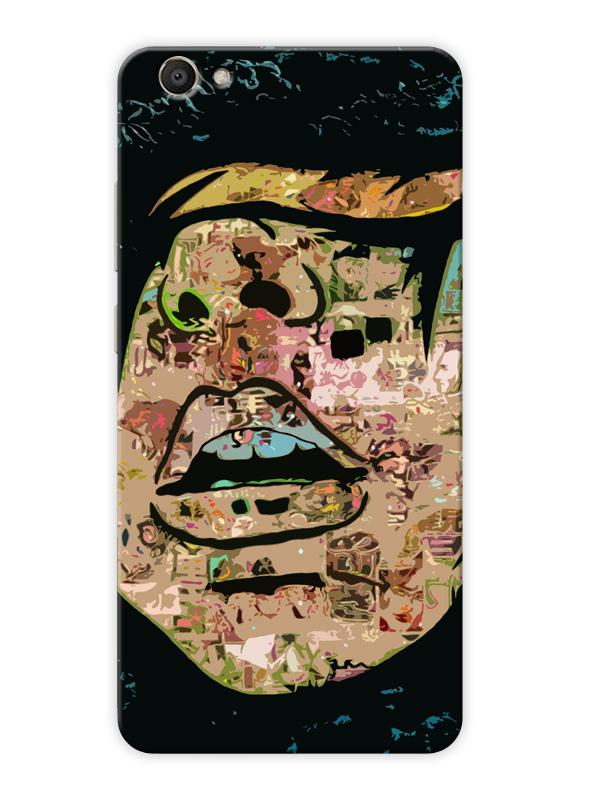 Comic Girl Big Lips Abstract Doodle Art Minimal Designer 3D Matte Finish  Mobile Back cover for Vivo-V5