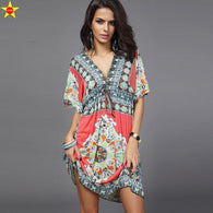 Boho Style Women Dress Sexy Sundresses Deep V Ethnic Floral Print Tunic Beach Dresses