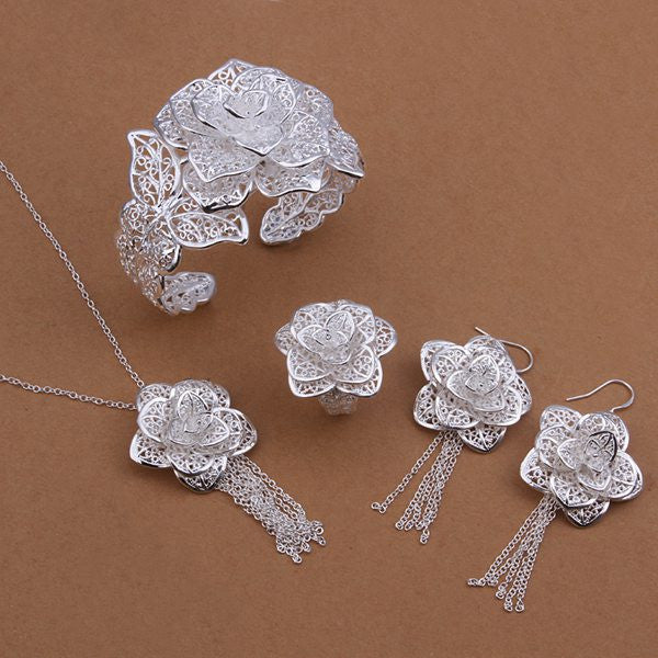 925  silver plated  Jewelry Set Flower Necklace ,Bangle,Earring,Ring Set