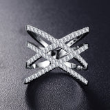 Double Letter X Shape Ring in Zirconia Micro Paved Silver Plated