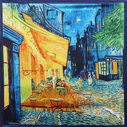90cm*90cm Women Vincent van Gogh Oil Painting Coffee house big size silk scarf