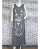 Women Summer Long Dresses Sexy Casual Cat Print Boho Long Maxi Beach Dress Evening Party
