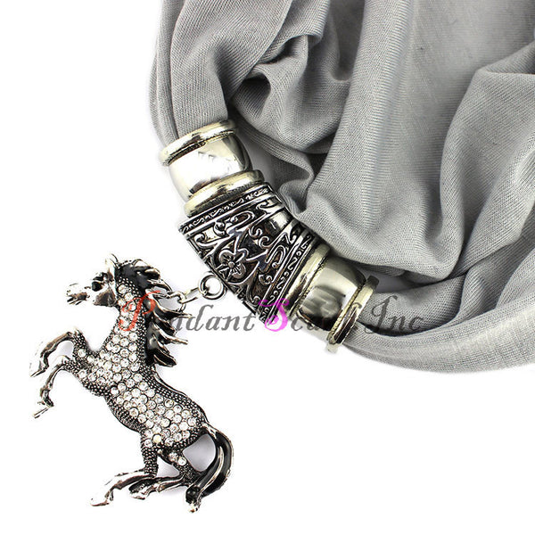 Horse Pendant Necklace Costume Scarf with Tassel Beads