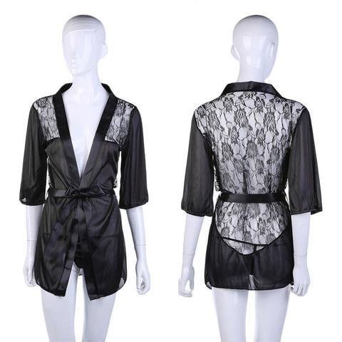 05f80734831 ... BABY DOLL Hot Sexy Lingerie Plus Size Satin Lace Black Kimono Intimate  Sleepwear Robe Sexy Night