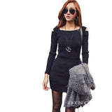 Women Knitted Dress Long Sleeve Square Collar Stretch Casual Party Mini