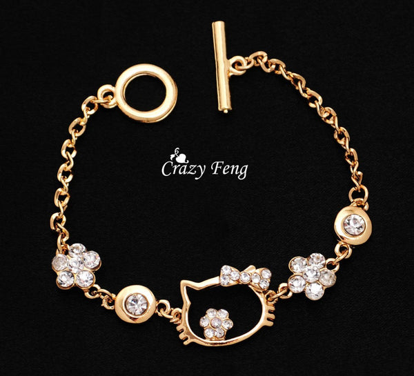 Charm Bracelet  For Girl Cute Hello Kitty Cat  Chain Link Jewelry 18K Gold Plated Rhinestone Bracelet