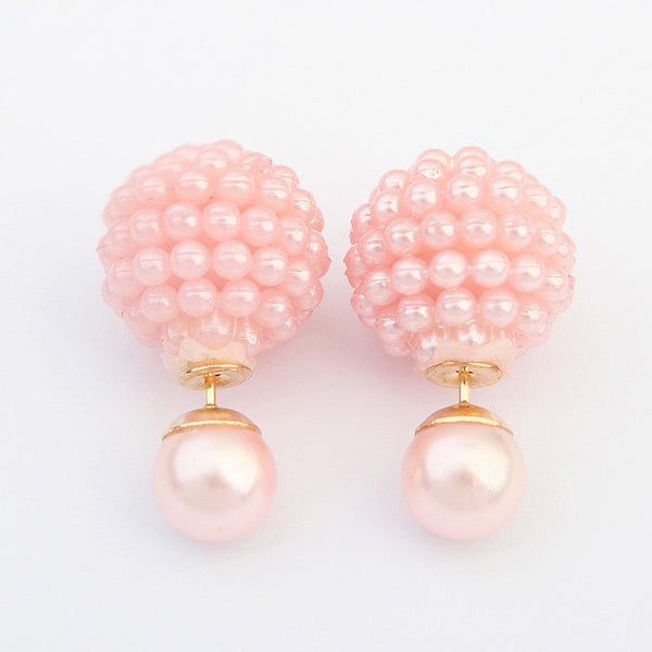 5 Colors Double Side  Imitation pearl  fashion earring Trendy Cute Charm Pearl Statement Ball Stud earrings