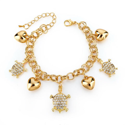 Gold Filled Chain Bracelet Fashion Bracelets For Women Full Crystal Fish Charm