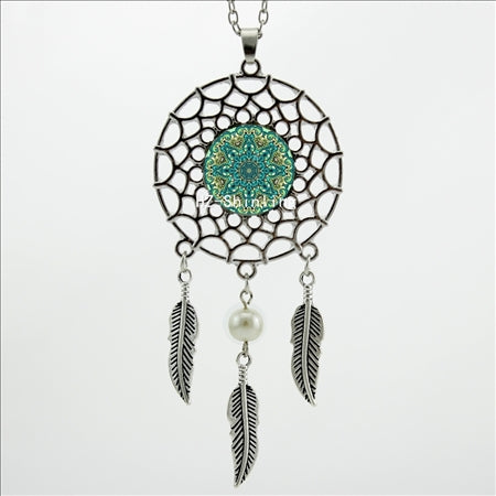 Trendy Style Dreamcatcher Pendant Mandala Lotus Necklace Yoga Pendant Jewelry Dream Catcher Necklace