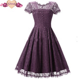 Vintage Tunic Lace Dress Female Robe Casual 1950s Rockabilly Short Cap Sleeve V-Back Swing Summer Dresses